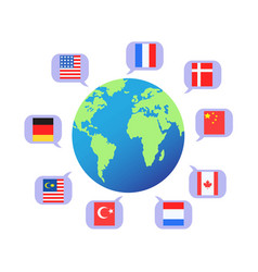 flag speech bubbles around the world vector image vector image