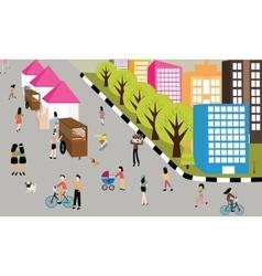 people jogging walking activities road on car free vector image vector image