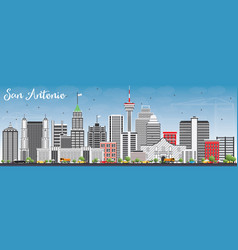 san antonio skyline with gray buildings and blue vector image vector image