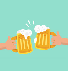 two hands holding and clinking two beer mug vector image vector image