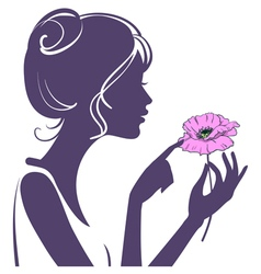 Young girl with a pink poppy flower vector image