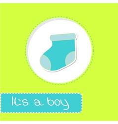 Baby boy sock Shower card vector image vector image