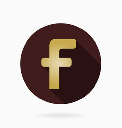 fine flat icon with letter f vector image