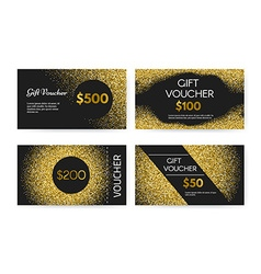 Golden Gift Voucher vector image