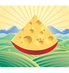 landscape with cheese vector image vector image