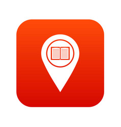 map pointer with book icon digital red vector image