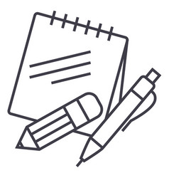 notes with pen and pencil line icon sign vector image vector image