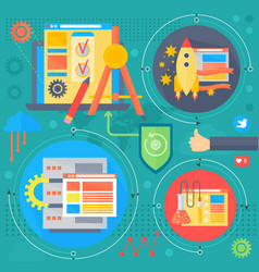 seo and development concept design infographics vector image vector image