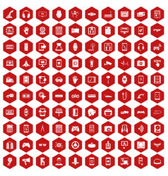 100 adjustment icons hexagon red vector
