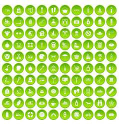 100 human health icons set green vector