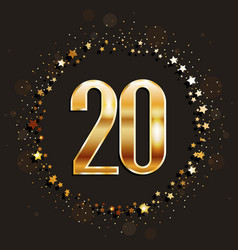 20 years anniversary gold banner vector image