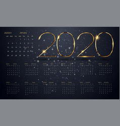 2020 new year black background gold text vector image