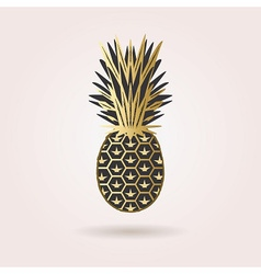 Abstract black and golden pineapple icon vector