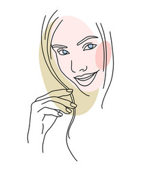 abstract face line drawing beauty woman portrait vector image