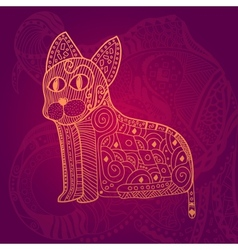 Abstract lace cat card vector image