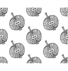 apple zentangle pattern for print or disign vector image