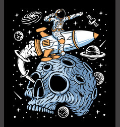 Astronaut leave planet skull with rocket vector