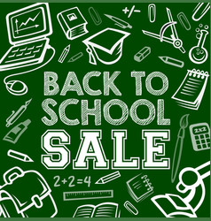 Back to school stationery sale poster vector
