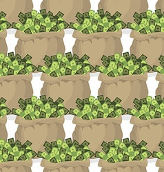 Bag with money seamless pattern Many dollars in vector image