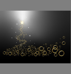 Black christmas tree background with bubbles vector