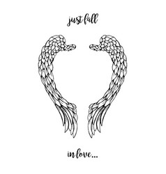 Black feathers and wings frame in heart shape vector