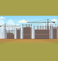 Building construction site with cranes unfinished vector