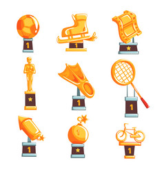 cartoon golden trophy cups awards and vector image