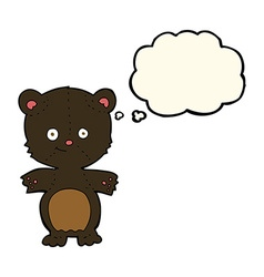 Cartoon happy black bear with thought bubble vector
