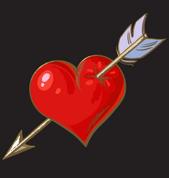cartoon red heart pierced by arrow element for vector image