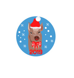 christmas poster with image a pig portrait in vector image