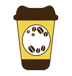 Color silhouette of disposable coffee cup vector