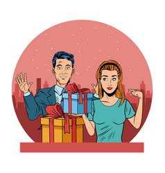Couple avatar with gift box pop art vector