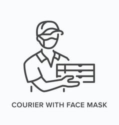 courier with face mask flat line icon vector image