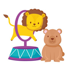 cute circus lion jumping ring and bear vector image