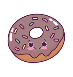 cute food donut sweet dessert kawaii cartoon vector image