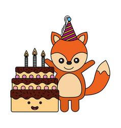 cute fox birthday sweet cake vector image