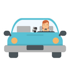 cute girl with the car vector image