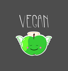 Cute with angel apple and vegan word vector