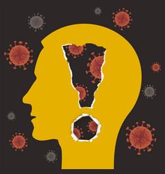 danger coronavirus pandemicmale head silhouette vector image