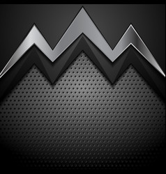 dark technology background with metallic arrow vector image