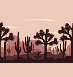 Desert seamless pattern with joshua trees vector