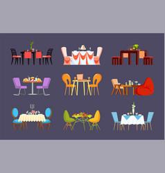 Dinner or wedding settings on restaurant tables vector