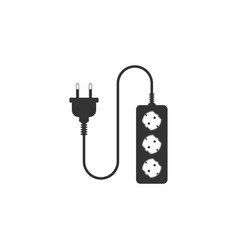 Electric extension cord icon isolated power plug vector