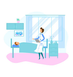 Female doctor visit patient lying in hospital bed vector
