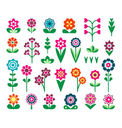 field and garden lowers flat color icons set vector image
