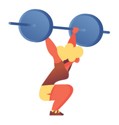 flat character with barbell lifting it over head vector image