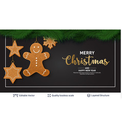 gingerbread cookies and text on dark banner vector image