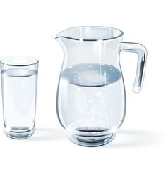Glass of water and jug vector