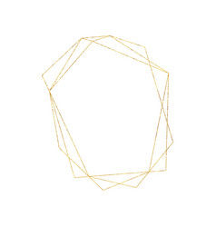 Gold geometric crystal frame with detailed vector