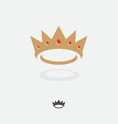 gold king crown with red gems icon vector image
